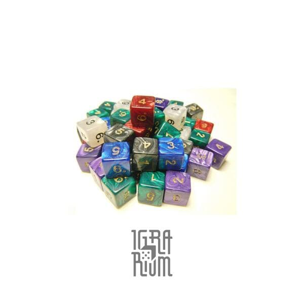 Кубик D6 Перламутровый (с цифрами)